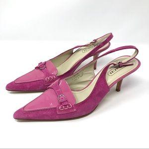 Like🆕 COACH pink leather/suede slingbacks, Italy